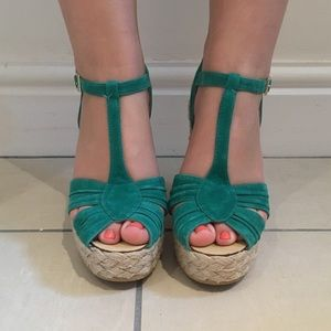 Topshop Teal Suede T-strap Wedge Sandals